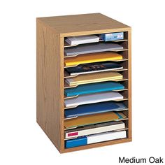 Eliminate desk clutter with this handy desk sorter from Safco. It is constructed vertically to save desktop space while still holding up to 15 pounds of papers and files per shelf. The shelves are removable, allowing you to customize to your needs.