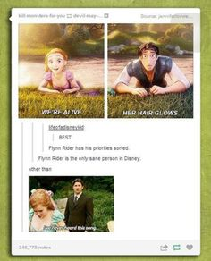 Funny pictures about Flynn Rider And His Priorities. Oh, and cool pics about Flynn Rider And His Priorities. Also, Flynn Rider And His Priorities photos. Disney Pixar, Film Disney, Disney Memes, Disney And Dreamworks, Disney Love, Disney Magic, Disney Stuff, Funny Disney, Disney Facts