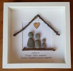 crafts with beach pebbles Picture Frames For Sale, Picture Frame Art, Picture Boxes, Handmade Picture Frames, Rock Family, The Family Stone, Stone Pictures Pebble Art, Stone Art, Box Frame Art