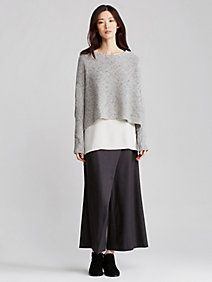 Exclusive Bateau Neck Cropped Box-Top in Cashmere Silk Tweed