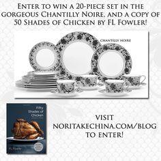 20 -Piece Set in Chantilly Noire, & 50 Shades of Chicken by FL Fowler.  PLEASE ENTER HERE: http://gvwy.io/8r5b9u