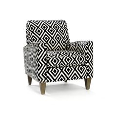 Midcentury-inspired Cosgrove Arm Chair with geometric-print upholstery and square taper legs. Color: Black and White Black And White Chair, Black White, Color Black, Colour, Genius Ideas, Luxury Chairs, Take A Seat, Home And Deco, Club Chairs
