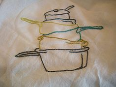 Pots and pans hand embroidered dish towel. (pattern from Urban Threads)