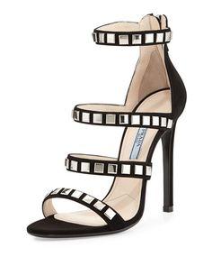 X29RF Prada Square-Stud Suede Sandal, Black