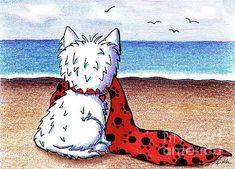 Kim Niles - KiniArt Beach Blanket Westie Westies, Westie Dog, Terriers, Shetland Sheepdog Puppies, Dog Beach, West Highland Terrier, White Terrier, Beach Blanket, Dog Art