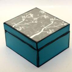 Recipe Box Filing Box Tree Branch Blue Grey Upcycled Metal