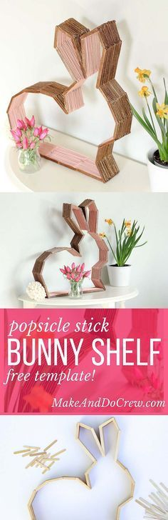 This bunny shelf makes a perfect Easter craft idea for Spring or DIY nursery decor to enjoy year round! Make it out of popsicle sticks using the free downloadable template. Click to see the full tutorial. | MakeAndDoCrew.com