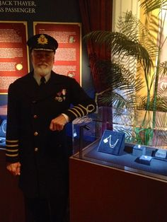 """Captain Smith admiring the """"Jewels of Titanic"""" that were just installed at Titanic The Experience in Orlando. Get off when you purchase the ticket online and use the code: JEWELS www. Titanic History, Titanic Movie, Rms Titanic, Titanic Deaths, Titanic Exhibition, Titanic Underwater, Visit Orlando, Florida Hotels, Interesting Information"""