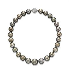 A BLACK CULTURED PEARL NECKLACE, BY HARRY WINSTON Of twenty-seven graduated black cultured pearls, measuring from approximately 13.40 to 17.80 mm, joined by a pavé-set diamond ball clasp, mounted in platinum, 17 ins. With maker's mark for Harry Winston, no. 64991/1