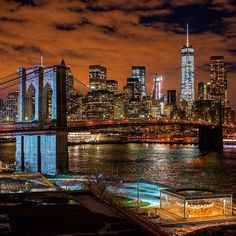 The Brooklyn Bridge and Lower Manhattan♥ Manhattan New York, Brooklyn New York, Lower Manhattan, Brooklyn Bridge, New York City, Dream City, World Trade Center, City Photography, Belle Photo