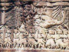 - Bajorrelieve camboyano . Representación de un antiguo ejército con su elefante de guerra ./tcc/