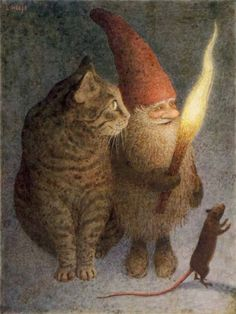 """""""Julen är här"""" Gnome with torch and a Cat and a Mouse Illustration by Lennart Helje ~ Lennart Helje is a Swedish illustrator particularly known for his wondrously moody paintings of gnomes either with animals or without, but usually with snow."""