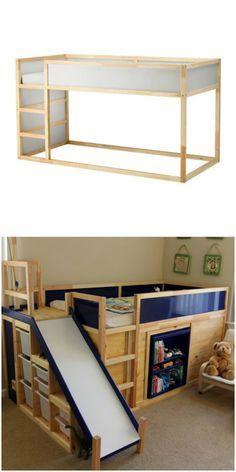 The Kura bed looks even cooler with a DIY slide, made possible with this fun IKEA hack. Kura Bed Hack, Ikea Kura Bed, Ikea Loft Bed Hack, Ikea Kura Hack, Ikea Hack Kids, Ikea Hacks, Hacks Diy, Diy Slides, Murphy Bed Ikea