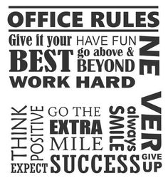 Office Rules Collage Quote | Wall Lettering | Vinyl Office Decals
