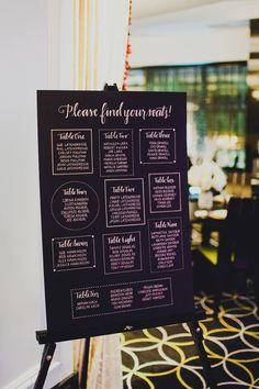 geometric seating chart, photo by Carina Skrobecki http://ruffledblog.com/seattle-escala-wedding #weddingsigns #seatingchart