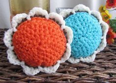 2 Scour Pad Flowers Nylon Scrubbie Dish Pot by BillyGoatsBuffet
