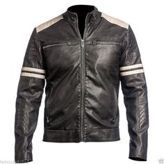 Men's Cordero Genuino Cuero Chaqueta Negro Slim Fit Chaqueta de moto - 115