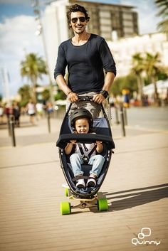 Urban mobility with an eye to the future. A perfect combination between a traditional stroller and the excitement of longboarding.  #urbanmobility #Quinny # Longboardstroller