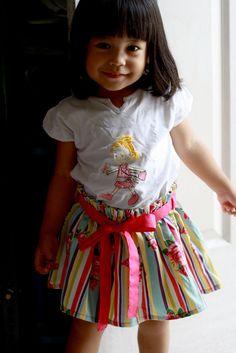 Girls Skirt Toddler Skirt for Spring Pink Rose Stripe by Cikimot