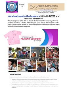 healincomfort recovery shirts are on their way to Nicaragua in November though the loving hands of Austin Samaritans. www.healincomfort.com The healincomfort shirt is a very helpful gift for breast cancer patients. It's like a personal hug and as soft as feathers for hurting skin!