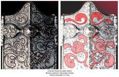 """Cel puțin doi dragoni (o pereche) sunt afrontați față de Colana Cerului substituită prin axa de simetrie a tecii. O altă pereche de dragoni este reprezentată într-o poziție protectoare, aproape maternă, față de a treia pereche de dragoni, simbolizând fertilitatea, fecunditatea (perechea """"dragonașilor"""" sugerând în mod superb actul nașterii, al creației)"""