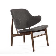 Mid-Century Modern Reproduction Shell Arm Chair - Charcoal Grey Wool Inspired by Ib Kofod Larsen