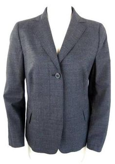 AKRIS PUNTO ^ Charcoal Dark Gray WOOL STRETCH BLAZER JACKET~12~ $139.30