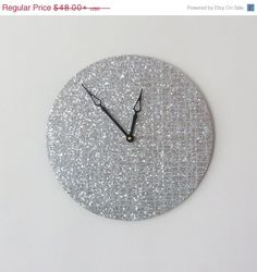 Mothers Day Sale Unique Wall Clock, Silver Glitter Clock,  Etsy Art,  Home and Living, Decor & Housewares, Living Room Decor, Unique Wall Cl