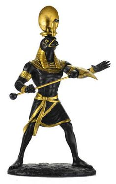 """Hand painted in black with embellishments in gold this handsome statue of Ra stands 11"""" x 6"""" x 4 1/4"""""""