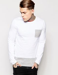 ASOS Longline Long Sleeve T-Shirt With Contrast Pocket And Hem