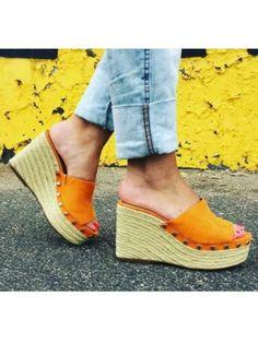 a2a6db7f32 Zara Mustard Orange Studded Wedges Sandals With Jute Effect Heel #Zara  #Mules #zara