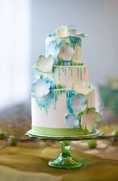Blue Watercolor Wedding Cake - wedding cake trends