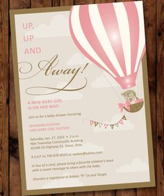 Up Up & Away Baby Shower Invitation Up Baby by PartiesbytheBundle