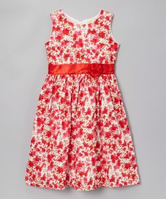 This Red Floral Sash Dress - Toddler & Girls is perfect! #zulilyfinds