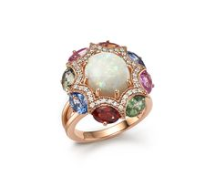 Diamond, Multi Sapphire and Opal Statement Ring in 14K Rose Gold | Bloomingdale's