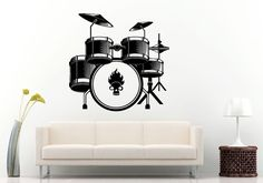 Musical Drums Drum Set With Flaming Skull Head In The Kick Drum Tool Wall Decal Vinyl Sticker Mural Room Decor L1243