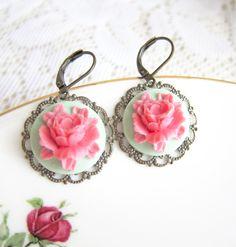 Pink and Mint Earrings Flower Earrings Floral Earrings Mint Green Pink Rose Earrings Vintage Wedding Bridesmaids Earrings.  via Etsy.