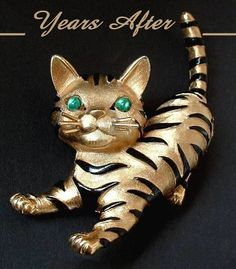 Vintage Crown TRIFARI Brooch ARK SERIES Cat Tiger Cub Signed c.1960's! from yearsafter on Ruby Lane