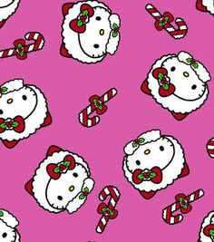 Holiday Inspirations Fabric- Hello Kitty Candy Canes Pink