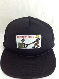 electric lines Hat Line Workers Patch Snapback Trucker Cap #unknown #Trucker