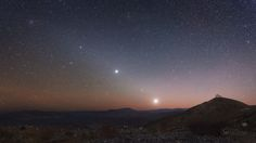 APOD: Planets of the Morning;  Seen from the Southern Hemisphere's Las Campanas Observatory, before dawn.  Planets Venus, Mars, and Jupiter as well as Regulus (constellation Leo) line up along the ecliptic.