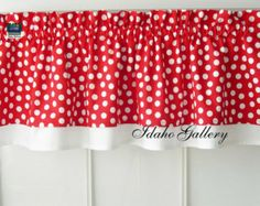 Red with White Dot Double Layer Little Curtain Retro Style Valance