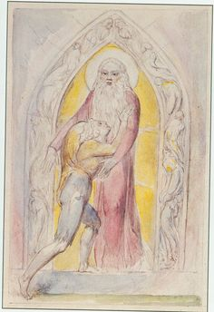 "Illustrations to John Bunyan's *The Pilgrim's Progress* By William Blake:  11 Good-will ""I am willing with all my heart, said he, and with that he opened the Gate....Then said Christian, I rejoice and tremble"""