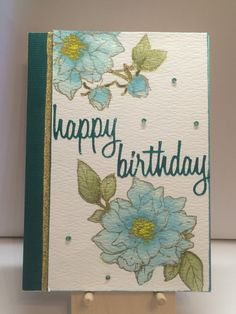 I made this card, using the stamps from the April 2016 Hero Arts Monthy Kit, for a co-worker. The flowers were stamped and heat embossed, then colored using a water color technique. I was inspired by a card made by Jennifer McGuire or Jennifer McGuire Ink.
