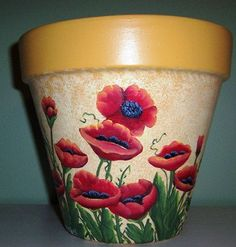 Hand Painted Clay Pot/Planter w/Red Poppies by ShadesofCountry Flower Pot Art, Clay Flower Pots, Flower Pot Crafts, Clay Pots, Clay Pot Projects, Clay Pot Crafts, Painted Plant Pots, Painted Flower Pots, Clay Pot People