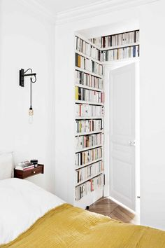 bedroom books above a doorway