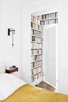 bedroom books above a doorway