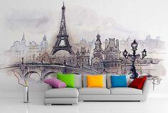 Fototapeta na mieru Eiffel tower Paris Wall Murals, Tower, Paris, Interior Design, Wallpaper Murals, Nest Design, Rook, Montmartre Paris, Murals