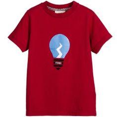 Fendi - Boys Red Cotton Jersey 'Lightbulb' T-Shirt | Childrensalon