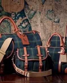 Vintage Ralph Lauren Navy & Green Plaid Bags
